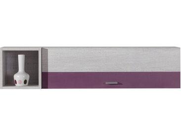 Jugendzimmer - Hängeschrank Emilian 14, Kiefer gebleicht / Lila - Abmessungen: 25 x 110  x 27 cm (H x B x T)
