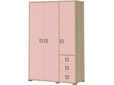 Kinderzimmer - Drehtürenschrank / Kleiderschrank Benjamin 14, Farbe: Buche / Rosa - 198 x 126 x 56 cm (H x B x T)