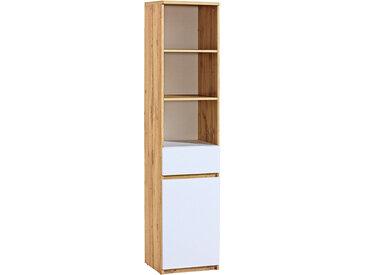 Jugendzimmer - Regal Alard 03, Farbe: Eiche / Weiß - Abmessungen: 195 x 45 x 40 cm (H x B x T)