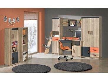 Jugendzimmer Komplett - Set F Marcel, 6-teilig, Farbe: Esche Orange / Grau / Braun