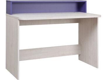 Kinderzimmer - Schreibtisch Luis 04, Farbe: Eiche Weiß / Lila - 93 x 120 x 60 cm (H x B x T)