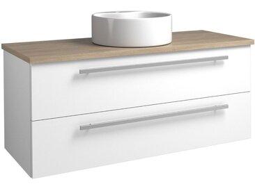 Waschtischunterschrank Bidar 94, Farbe: Weiß glänzend / Eiche Grau – 50 x 121 x 47 cm (H x B x T)