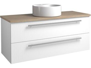 Waschtischunterschrank Bidar 94, Farbe: Weiß glänzend / Eiche Grau – 50 x 121 x 45 cm (H x B x T)