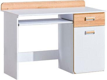 Jugendzimmer - Schreibtisch Dennis 10, Farbe: Esche / Weiß - Abmessungen: 87 x 120 x 55 cm (H x B x T)
