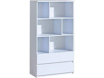 Jugendzimmer - Regal Alard 04, Farbe: Weiß - Abmessungen: 151 x 80 x 40 cm (H x B x T)