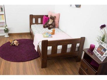 Kinderbett / Jugendbett  Kiefer Vollholz massiv Nussfarben A22, inkl. Lattenrost - Abmessung 90 x 200 cm