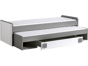 Kinderbett / Jugendbett Elias 16 inkl. 2. Liegefläche und Schublade, Farbe: Weiß / Grau - Liegefläche: 80 x 200 cm (B x L)