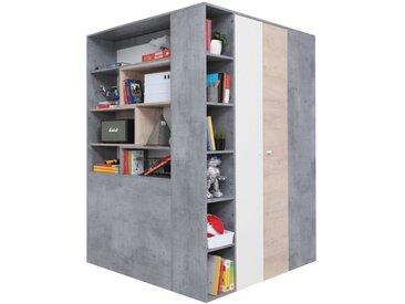 Jugendzimmer - Drehtürenschrank / Eckkleiderschrank Lede 01, Farbe: Grau / Eiche / Weiß - Abmessungen: 190 x 135 x 135 cm (H x B x T)