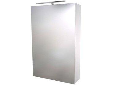 Badezimmer - Spiegelschrank Nadiad 02, Farbe: Weiß glänzend – 70 x 46 x 14 cm (H x B x T)