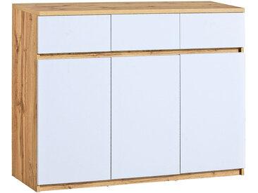 Jugendzimmer - Kommode Alard 06, Farbe: Eiche / Weiß - Abmessungen: 94 x 120 x 40 cm (H x B x T)