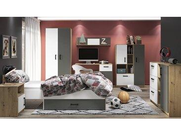 Jugendzimmer Komplett - Set A Sallingsund, 7-teilig, Farbe: Eiche / Weiß / Anthrazit