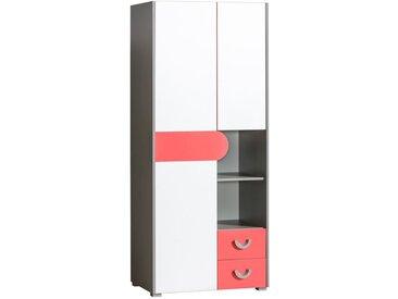 Jugendzimmer - Drehtürenschrank / Kleiderschrank Klemens 01, Farbe: Rosa / Weiß / Grau - Abmessungen: 190 x 80 x 53 cm (H x B x T)