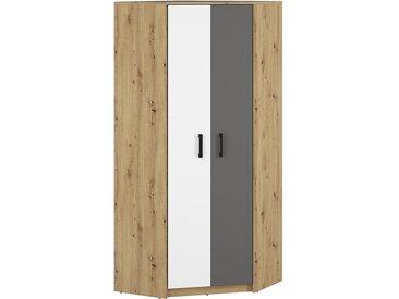 Jugendzimmer - Drehtürenschrank / Eckkleiderschrank Sallingsund 13, Farbe: Eiche / Weiß / Anthrazit - Abmessungen: 191 x 82 x 82 cm (H x B x T), mit 2 Türen und 5 Fächern