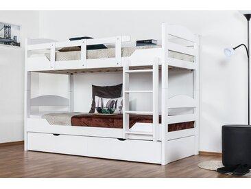 Stockbett für Erwachsene Easy Premium Line K13/n inkl. 2 Schubladen und 2 Abdeckblenden, Kopf- und Fußteil gerundet, Buche Vollholz massiv Weiß - 90 x 200 cm (B x L), teilbar