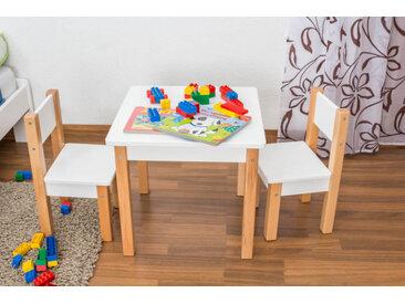 Kindertisch Laurenz Buche Vollholz massiv natur/weiß - Abmessungen: 47 x 50 x 50 cm (H x B x T)
