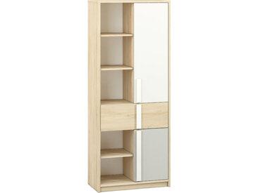 Jugendzimmer - Schrank Greeley 03, Farbe: Buche / Weiß / Hellgrau - Abmessungen: 199 x 80 x 40 cm (H x B x T), mit 2 Türen, 1 Schublade und 10 Fächern
