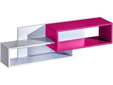 Kinderzimmer - Hängeregal / Wandregal Frank 11, Farbe: Weiß / Rosa - 34 x 120 x 26 cm (H x B x T)