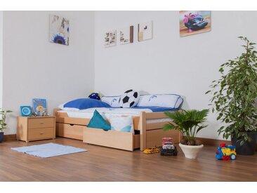 Kinderbett / Jugendbett Easy Premium Line K1/1n inkl 2 Schubladen und 2 Abdeckblenden, 90 x 200 cm Buche Vollholz massiv Natur