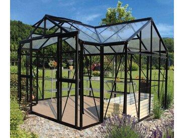 Gewächshaus Chili 02, Ausführung: Echtglas 4 mm, Abmessungen: 381 x 377 x 250 cm (L x B x H), Farbe: Schwarz