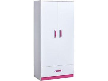 Kinderzimmer - Drehtürenschrank / Kleiderschrank Frank 01, Farbe: Weiß / Rosa - 189 x 90 x 50 cm (H x B x T)