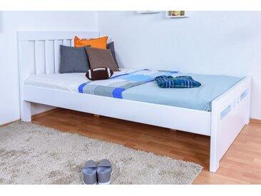 Jugendbett Easy Premium Line K8 inkl.1 Abdeckblende, 120 x 200 cm Buche Vollholz massiv weiß lackiert