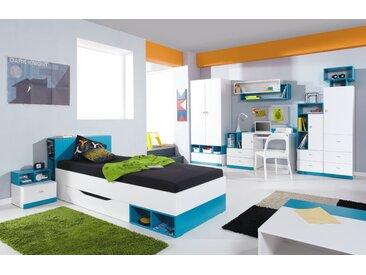 Jugendzimmer Komplett - Set C Geel, 8-teilig, Weiß / Türkis