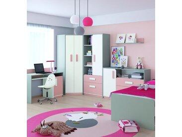 Kinderzimmer Komplett - Set A Renton, 6-teilig, Farbe: Platingrau / Weiß / Puderrosa