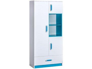Kinderzimmer - Drehtürenschrank / Kleiderschrank Frank 03, Farbe: Weiß / Blau - 189 x 90 x 40 cm (H x B x T)