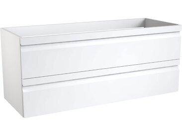 Waschtischunterschrank Bikaner 09 mit Siphonausschnitte für Doppelwaschtisch, Farbe: Weiß glänzend – 50 x 119 x 45 cm (H x B x T)