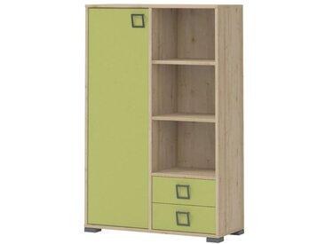Kinderzimmer - Kommode Benjamin 26, Farbe: Buche / Olive - 134 x 86 x 37 cm (H x B x T)