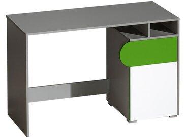 Jugendzimmer - Schreibtisch Klemens 08, Farbe: Grün / Weiß / Grau - Abmessungen: 78 x 120 x 53 cm (H x B x T)