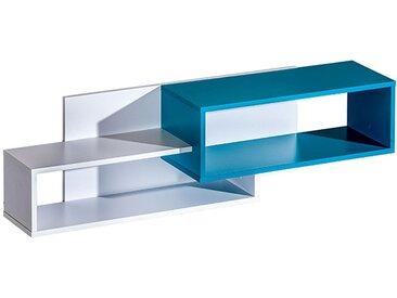 Kinderzimmer - Hängeregal / Wandregal Frank 11, Farbe: Weiß / Blau - 34 x 120 x 26 cm (H x B x T)
