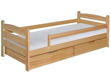 Kinderbett / Jugendbett Milo 36 inkl. 2 Schubladen und Lattenrost, Farbe: Natur, massiv - 90 x 200 cm (B x L)