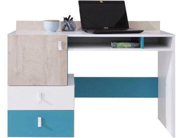 Jugendzimmer - Schreibtisch Aalst 23, Farbe: Eiche / Weiß / Blau - Abmessungen: 86 x 125 x 55 cm (H x B x T)