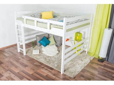 Hochbett für Erwachsene Easy Premium Line K15/n, Buche Vollholz massiv weiß lackiert, umbaubar - Liegefläche: 160 x 200 cm