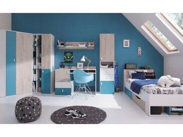 Jugendzimmer Komplett - Set A Aalst, 6-teilig, Eiche / Weiß / Blau