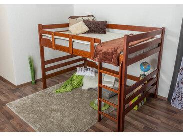 Hochbett für Erwachsene Easy Premium Line K15/n, Buche Vollholz massiv Kirschrot, umbaubar - Liegefläche: 140 x 200 cm