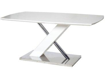 Esstisch Daures 08 (eckig), Farbe: Weiß Hochglanz / Verchromt - Abmessungen: 180 x 100 cm (B x T)