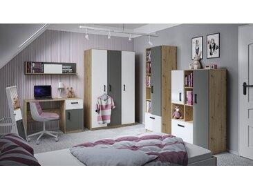 Jugendzimmer Komplett - Set D Sallingsund, 6-teilig, Farbe: Eiche / Weiß / Anthrazit