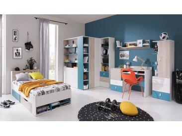 Jugendzimmer Komplett - Set B Aalst, 6-teilig, Eiche / Weiß / Blau
