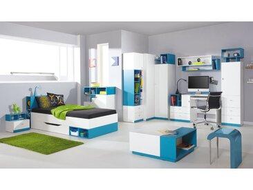 Jugendzimmer Komplett - Set B Geel, 9-teilig, Weiß / Türkis