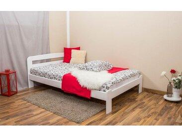 Einzelbett / Gästebett Kiefer Vollholz massiv weiß lackiert A5, inkl. Lattenrost - Abmessung 120 x 200 cm