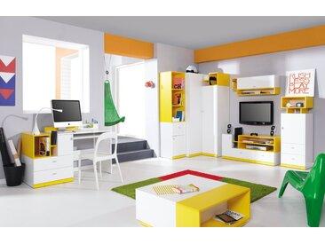 Jugendzimmer Komplett - Set D Geel, 7-teilig, Weiß / Gelb