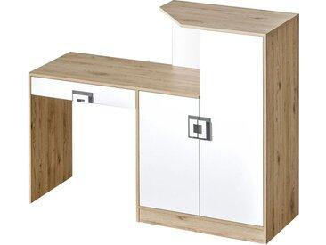 Kinderzimmer - Schreibtisch Fabian 11, Farbe: Eiche Hellbraun / Weiß / Grau - 120 x 150 x 50 cm (H x B x T)