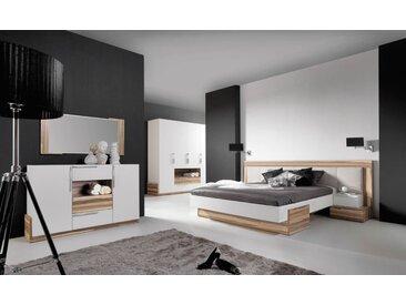 Schlafzimmer Komplett - Set A Andenne, 5-teilig, Weiß / Walnuss