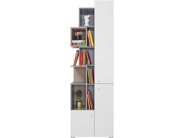 Jugendzimmer - Regal Lede 04, Farbe: Grau / Eiche / Weiß - Abmessungen: 190 x 60 x 40 cm (H x B x T)