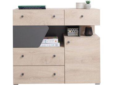 Jugendzimmer - Kommode Chiny 11, Farbe: Eiche / Grau - Abmessungen: 95 x 110 x 40 cm (H x B x T)
