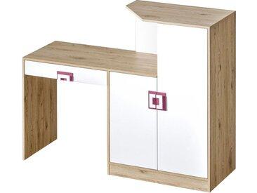 Kinderzimmer - Schreibtisch Fabian 11, Farbe: Eiche Hellbraun / Weiß / Rosa - 120 x 150 x 50 cm (H x B x T)
