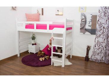 Kinderbett / Hochbett Easy Premium Line K14/n, Buche Vollholz massiv Weiß - Maße: 90 x 200 cm