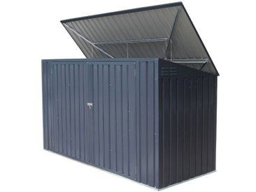 Mülltonnenbox / Metallgerätehaus, Maße: 235 x 100 x 131 cm (L x B x H), Farbe: Anthrazit